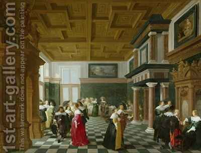 Elegant Figures dancing in an Interior by Dirck Van Delen - Reproduction Oil Painting