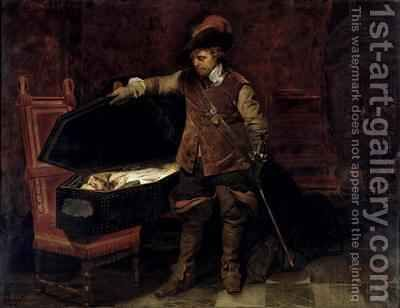 Oliver Cromwell 1599-1658 Opening the Coffin of Charles I 1600-49 by Hippolyte (Paul) Delaroche - Reproduction Oil Painting