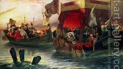 The State Barge of Cardinal Richelieu on the Rhone by Hippolyte (Paul) Delaroche - Reproduction Oil Painting