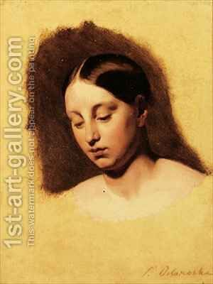 Study for the head of a young woman by Hippolyte (Paul) Delaroche - Reproduction Oil Painting