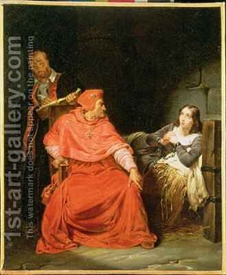 Joan of Arc 1412-31 Interrogated by the Cardinal of Winchester by Hippolyte (Paul) Delaroche - Reproduction Oil Painting