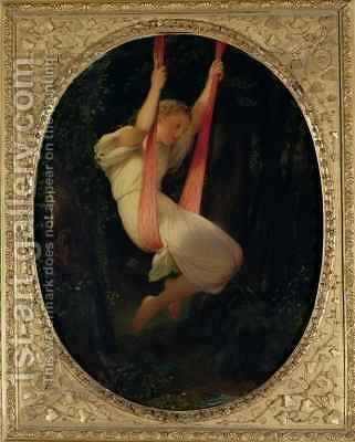 Young Girl on a Swing by Hippolyte (Paul) Delaroche - Reproduction Oil Painting
