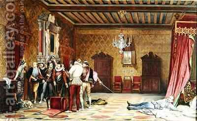 The Assassination of Henri de Lorraine 1549-88 duc de Guise by Hippolyte (Paul) Delaroche - Reproduction Oil Painting