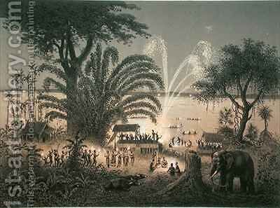 Fireworks on the river at celebrations in Bassac by (after) Delaporte, Louis - Reproduction Oil Painting