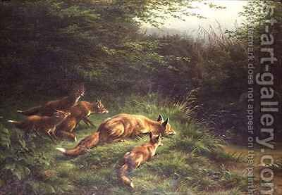 Foxes waiting for the prey by Carl Friedrich Deiker - Reproduction Oil Painting