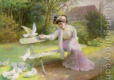 Feeding the Doves by Edmond Alphonse Defonte - Reproduction Oil Painting