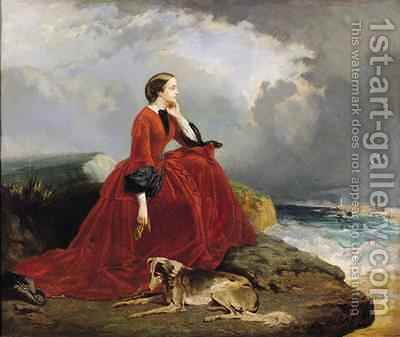 Empress Eugenie 1826-1920 at Biarritz by E. Defonds - Reproduction Oil Painting