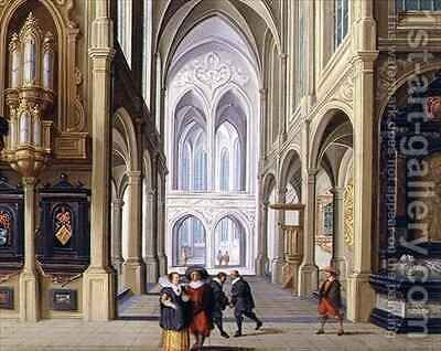 Elegant Figures in a Gothic Church by Dirck van Deelen - Reproduction Oil Painting
