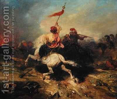 A Turkish Standard Bearer by Alexandre Gabriel Decamps - Reproduction Oil Painting