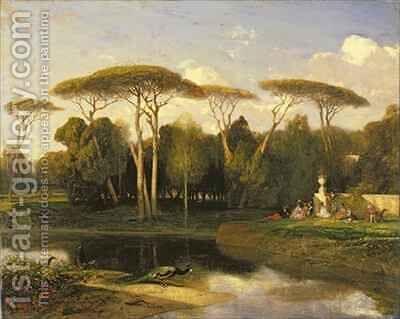 The Villa Doria Pamphili Rome Souvenir dune Villa by Alexandre Gabriel Decamps - Reproduction Oil Painting