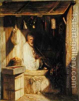 Turkish Merchant Smoking in his Shop by Alexandre Gabriel Decamps - Reproduction Oil Painting