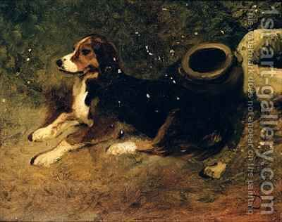 A Dog Lying Down by Alexandre Gabriel Decamps - Reproduction Oil Painting