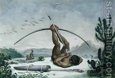 Cabocle Indian hunting birds with a bow and arrow by (after) Debret, Jean Baptiste - Reproduction Oil Painting
