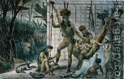 Family of a Camacan Indian Chief Preparing for a Festival by (after) Debret, Jean Baptiste - Reproduction Oil Painting