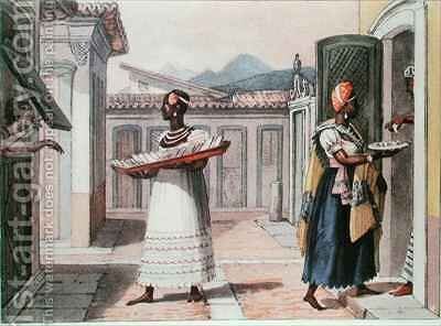 Travelling Saleswomen in Rio de Janeiro in 1827 by (after) Debret, Jean Baptiste - Reproduction Oil Painting