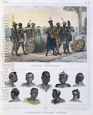 Slaves Carrying a Barrel and Black People by (after) Debret, Jean Baptiste - Reproduction Oil Painting