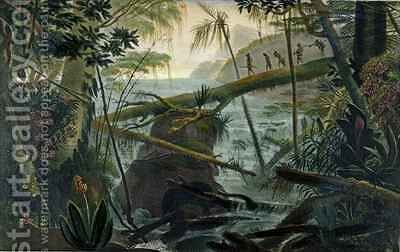 Indians using a Fallen Tree trunk to Cross the Rio Paraiba do Sul by (after) Debret, Jean Baptiste - Reproduction Oil Painting