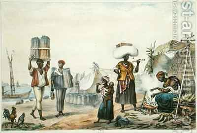 Negroes Selling Coal and Maize by (after) Debret, Jean Baptiste - Reproduction Oil Painting