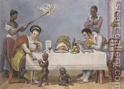 The Dinner a white couple being served and fanned by black slaves by (after) Debret, Jean Baptiste - Reproduction Oil Painting