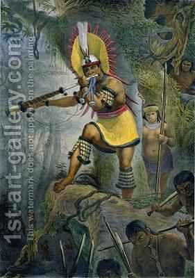 A Coroado Indian Giving the Signal for Attack by (after) Debret, Jean Baptiste - Reproduction Oil Painting