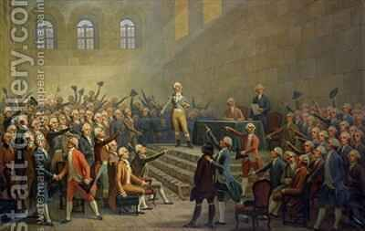 Assembly of the Three Orders of the Dauphin received at Vizille Castle by Claude Perier 1742-1801 on 21 July 1788 by Alexandre Debelle - Reproduction Oil Painting