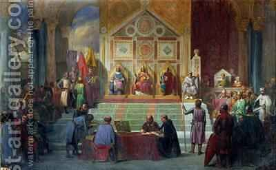 Assembly of Crusaders in Ptolemais in 1148 by Charles Alexandre Debacq - Reproduction Oil Painting