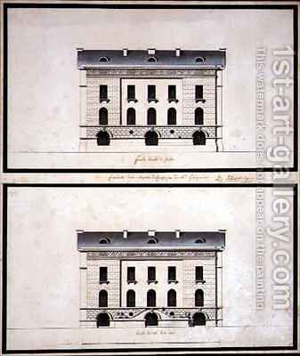 Elevations of a Neo Classical Villa for a Gentleman by B.J. De Warlerlyers - Reproduction Oil Painting