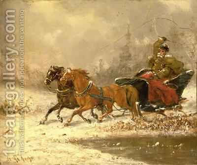 Returning Home in Winter by Charles Ferdinand De La Roche - Reproduction Oil Painting