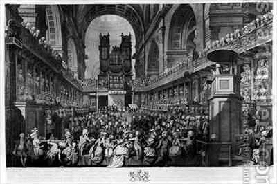Thanksgiving at St Pauls for George IIIs 1738-1820 Recovery from Illness by (after) Dayes, Edward - Reproduction Oil Painting