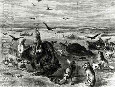 Slaughter of Buffaloes on the Plains from Harpers Weekly 1872 by (after) Davis, Theodore Russell - Reproduction Oil Painting
