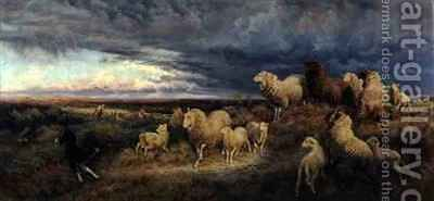 Approaching Thunderstorm Flocks Driven Home Picardy by Henry William Banks Davis - Reproduction Oil Painting
