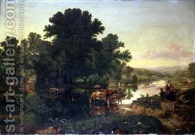 Wooded River Landscape with Cattle Watering by Henry William Banks Davis - Reproduction Oil Painting
