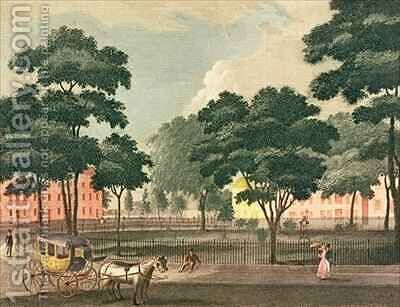 View of the Bowling Green Broadway by (after) Davis - Reproduction Oil Painting