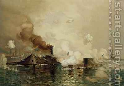 The Monitor and the Merrimac the First Fight between Ironclads in 1862 by (after) Davidson, Julian Oliver - Reproduction Oil Painting