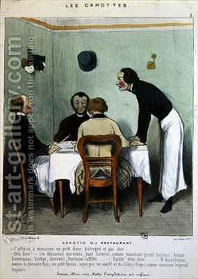 Restaurant scene by (after) Daumier, Honore - Reproduction Oil Painting
