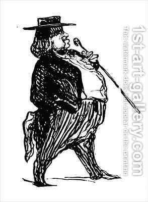 Honore de Balzac 1799-1850 with a cane by (after) Daumier, Honore - Reproduction Oil Painting