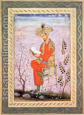 Babur Reading Mughal by Bishn Das - Reproduction Oil Painting