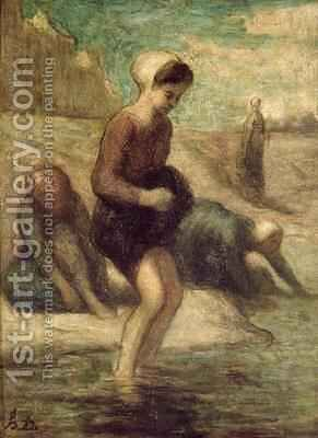 At the Waters Edge by Honoré Daumier - Reproduction Oil Painting