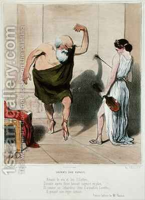 Socrates visiting Aspasia by Honoré Daumier - Reproduction Oil Painting