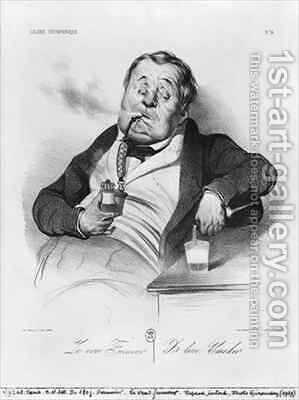 A true smoker from the series Galerie physionomique by Honoré Daumier - Reproduction Oil Painting