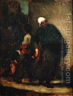 Street Scene by Honoré Daumier - Reproduction Oil Painting