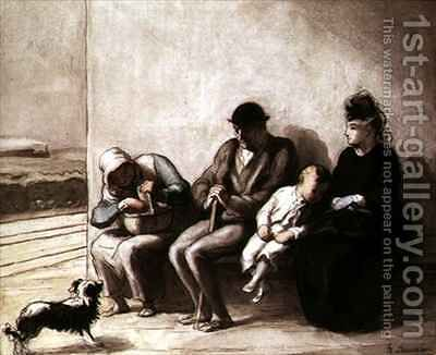 Wayside Railway Station by Honoré Daumier - Reproduction Oil Painting