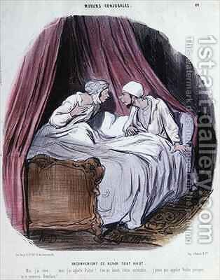 Cartoon about Marriage mid nineteenth century by Honoré Daumier - Reproduction Oil Painting