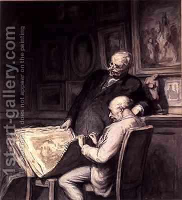 The Print Collectors 2 by Honoré Daumier - Reproduction Oil Painting