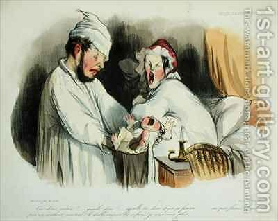 Parents woken by their baby by Honoré Daumier - Reproduction Oil Painting