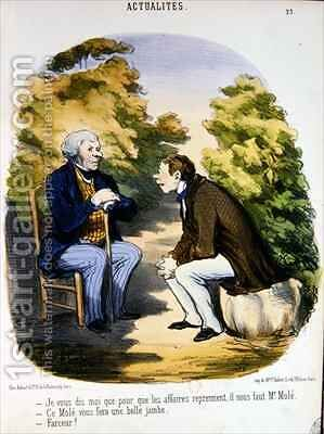 Two men discussing politics and the usefulness of the Comte de Mole by Honoré Daumier - Reproduction Oil Painting