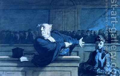 Scene at a tribunal by Honoré Daumier - Reproduction Oil Painting