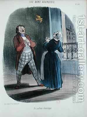 A Domestic Incident from Les Bons Bourgeois by Honoré Daumier - Reproduction Oil Painting
