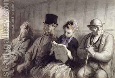The First Class Carriage by Honoré Daumier - Reproduction Oil Painting