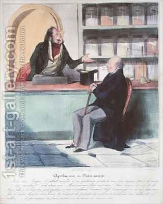 The Apothecary and the Pharmacist by Honoré Daumier - Reproduction Oil Painting